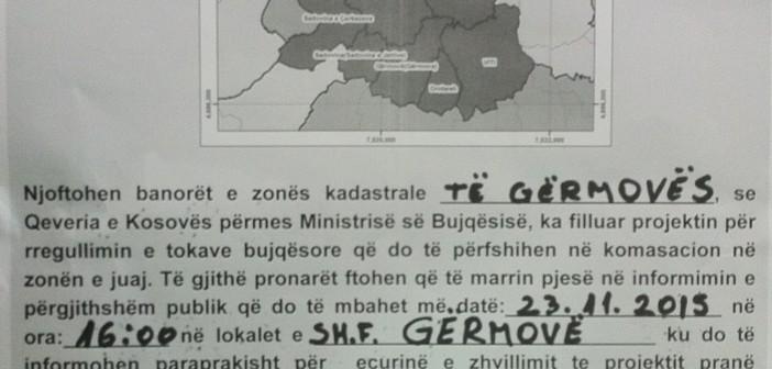 NJOFTIM: Pronarёt e tokave nё Zonёn Kadastrale tё Gёrmovёs informohen me procesin e komasacionit
