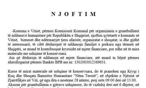 Komuna e Vitisë nis aksionin për mbledhjen e ndihmave për Shqipërinë